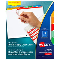 Avery Print & Apply Dividers With Easy Apply Labels, White With Multi-Coloured Tabs/Clear Labels, Letter-Size, 8-Tabs/ST, 5-Sets/PK