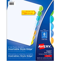 Avery Style Edge Insertable Plastic Dividers, Clear with Translucent Coloured Tabs, Letter-Size, 8-Tabs/ST, 1-Set/PK