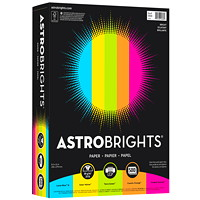 Neenah Astrobrights Bright 5-Colour Assortment Colour Paper, Letter-Size, FSC And Green Seal Certified, 24 lb., Ream