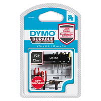 DYMO D1 Durable Label Cassette, White Ink/Black Tape, 12 mm x 3 m