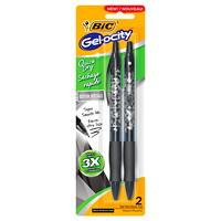 BIC Gelocity Quick-Dry Gel Rollerball Retractable Pens, Black Décor, Medium 0.7 mm, 2/PK
