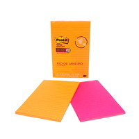 Feuillets super collants pour réunions Post-it, collection Rio de Janeiro, lignés, 5 po x 8 po, blocs de 45 feuillets, emb. de 2