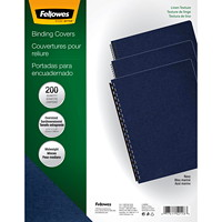 Fellowes Expressions Linen Texture Unpunched Binding Covers, Navy, Letter Size, 200/PK