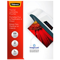 Fellowes Letter-Size Thermal Laminating Pouches, 200/Pk