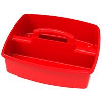 Grand bac de rangement à deuxcompartiments Storex, rouge