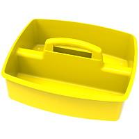 Grand bac de rangement à deuxcompartiments Storex, jaune
