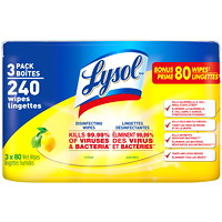 Lysol Disinfecting Wipes, Citrus Scent, 80 Wipes, 3/PK