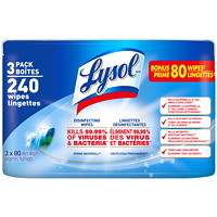 Lysol Disinfecting Wipes, Spring Waterfall Scent, 80 Wipes, 3/PK