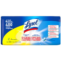 Lysol Citrus And Spring Waterfall Scent Disinfecting Wipes, 100 Wipes/Pack, 4/Pack