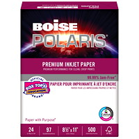 Boise Polaris Premium White Inkjet Paper, FSC Certified, 24 lb., 8 1/2