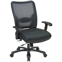 Office Star Big And Tall Dark Air Grid Back Ergonomic Leather/Mesh Chair