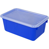Storex 8 L Blue Cubby Bins With Transparent Lids