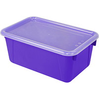 Storex 8 L Purple Cubby Bins With Transparent Lids