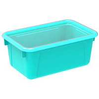 Storex 8 L Teal Cubby Bins With Transparent Lids