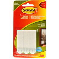 Command Picture and Frame Hanging Strips, White, Medium, 3 lb Capacity, 3 Sets/PK