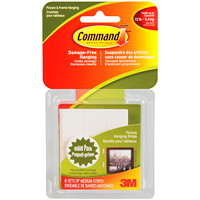 Command Picture and Frame Hanging Strips, White, Medium, 3 lb Capacity, 6 Sets/PK