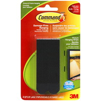 Command Picture and Frame Hanging Strips, Black, Large, Holds up to 4 lbs, 4 Sets/PK