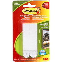 Command Picture and Frame Hanging Strips, White, Large, 4 lb Capacity, 4 Sets/PK