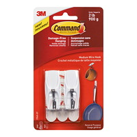 Command Wire Toggle Hooks, White, Medium, 2 lb Capacity, 2 Hooks/3 Strips