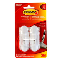 Command Wire Fixed Hooks, White, Medium, 3 lb Capacity, 2 Hooks/4 Strips