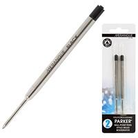Merangue Parker Type Ballpoint Pen Refills, Black Ink, 2/PK