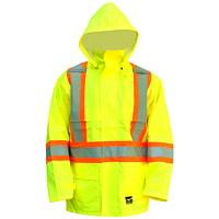 Manteau de pluie de sécurité haute visibilité 150D vert vif Open Road, TG