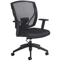 Offices To Go Ibex Mid-Back Office Task Chair, Ebony Black Jenny Fabric Seat and Black Mesh Back