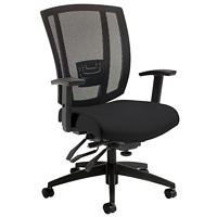 Offices To Go Avro Mid-Back Multi-Tilter Chair, Black, Bonded Leather/Mesh Back