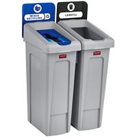 Stations de recyclage à deux flux de recyclage Slim Jim Rubbermaid