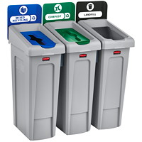 Rubbermaid Slim Jim 3-Stream Recycling Station