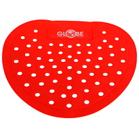 Globe Commercial Products Vinyl Urinal Screen, Red, Cherry Scented