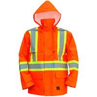 Manteau de pluie de sécurité haute visibilité 150D orangé vif Open Road, grand