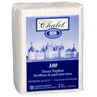 Metro Paper Chalet 3-Ply Premium 1/8 Fold Dinner Napkins, White, 100 Sheets/PK