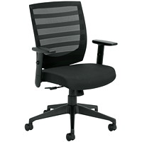 Offices To Go Nemo Mid-Back Tilter Office Chair, Ebony Black, Jenny Fabric Seat/Mesh Back