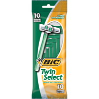 Bic Twin Select Disposable Sensitive Skin Green Shavers For Men, 10/Pk