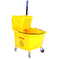 Globe Commercial Products Bucket and Wringer, Yellow, 35-Qt, Side Press