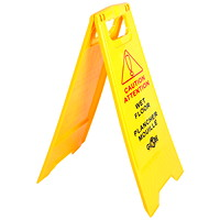 Globe Commercial Products English/French Wet Floor Sign