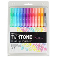 Jeu de marqueurs double pointe Pastels TwinTone Tombow, 12/emb.