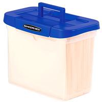 Boîte de rangement/classement portative à poignée en plastique robuste Bankers Box, corps transparent et couvercle bleu, format lettre
