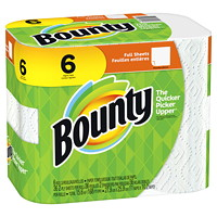 Bounty 2-Ply Full Sheet Paper Towels, White, 36 Sheets/RL, 6/PK