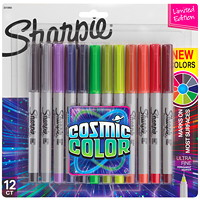 Sharpie Permanent Markers, Cosmic Colour, Assorted Colours, Ultra Fine Tip, 12/PK