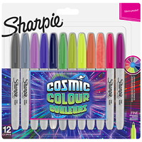 Sharpie Permanent Markers, Cosmic Colour, Assorted, Fine Tip, 12/PK