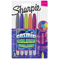 Sharpie Permanent Markers, Cosmic Colour, Assorted, Fine Tip, 5/PK