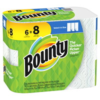 Bounty 2-Ply Select-A-Size Paper Towels 6=8, White, 74 Sheets/RL, 6/PK
