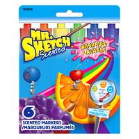 Marqueurs lavables parfumés à pointe biseautée Mr. Sketch, couleurs variées, emb. de 6