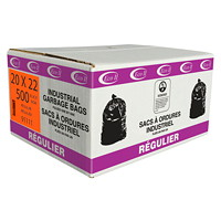 Eco II Manufacturing Inc. Black Industrial Garbage Bags, Regular, 20
