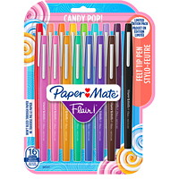 Paper Mate Candy Pop! Flair Felt Tip Pens, Medium, Assorted Fashion Colours, 16/Pk