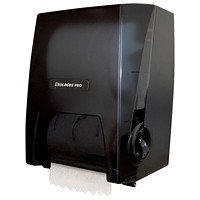 Distributeur universel d'essuie-mains en rouleau mécanique sans contact Cascades PRO, noir