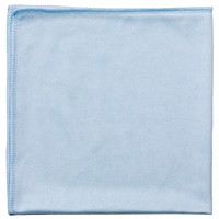 Globe Commercial Products Microfibre Cloths, For Glass, Blue, 16