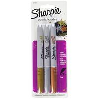 Sharpie Metallic Permanent Markers, Bronze/Silver/Gold, Fine Tip, 3/PK
